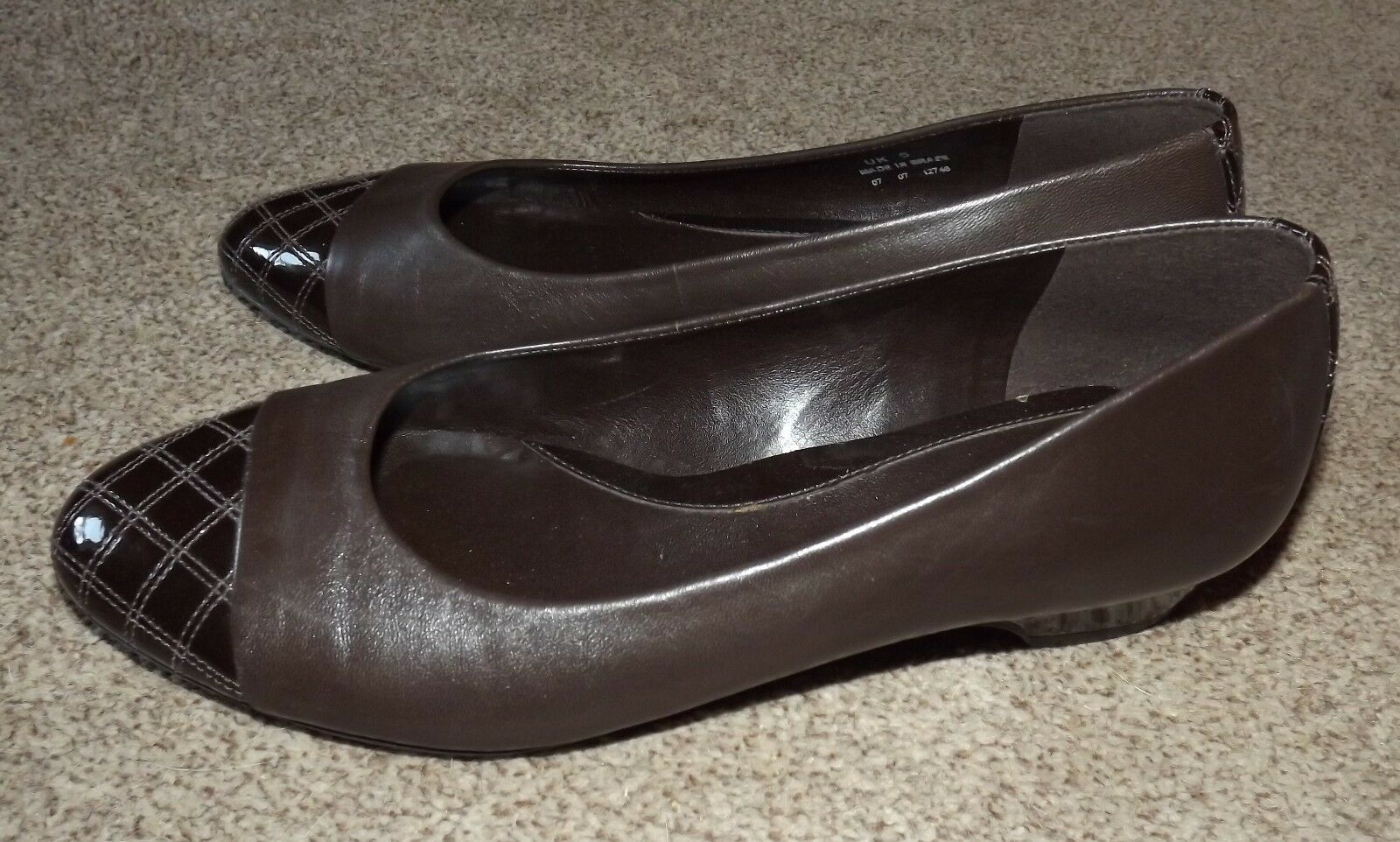LADIES STYLISH SLIP ON LEATHER  KAYS CLARKS BROWN LEATHER ON / PATIENT  LOW HEEL SHOES 4a16c3