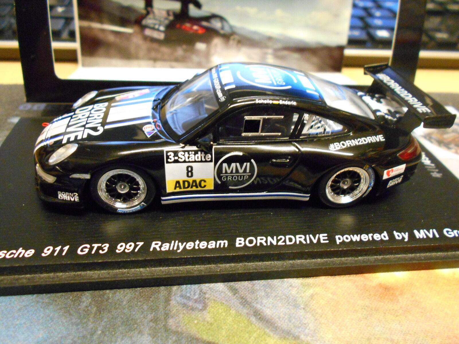 PORSCHE 911 997 GT3 Rallye DRM Schelle Born 2 drive 2015 1 450 NEW Spark 1 43  | Primäre Qualität
