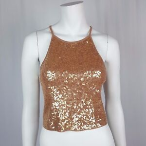 12048680c02 NWT Express Crop Top Size Small Ribbed High Neck Sleeveless Sequin ...