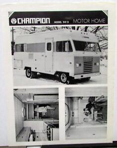 Late 1960s Champion Motor Home Dealer Sales Sheet Vintage Rv Camper Model 941 D Ebay
