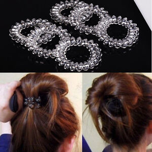 6pcs-Clear-Elastic-Rubber-Hair-Ties-Hairband-Spiral-Slinky-Rubber-Rope-HairBand