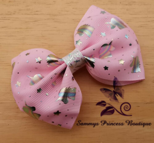 NEW GIRLS PINK UNICORN SHIMMER LARGE BIG RIBBON BOUTIQUE HAIR BOW CLIP SLIDE