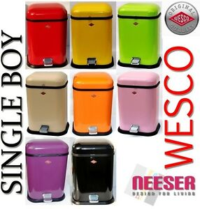 original wesco single boy design retro waste bin trash can 132212 retro bins ebay. Black Bedroom Furniture Sets. Home Design Ideas