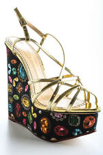 Charlotte Olympia Black Jewel Print Elizabeth Wedges Size 38 8 New In Box $895