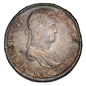 MEXICO WAR FOR INDEPENCENCE-ZACATECAS 1821-Zs-RG 8 REALES SILVER COIN, PCGS XF45