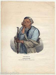 A Pottowattomie Chief-indianer-indian Lithographie J O Lewis 1835 Gelernt Pe-che-co