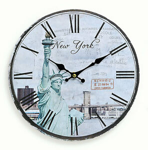 wanduhr aus holz 29cm amerika usa new york freiheitsstatue uhr r mische ziffern ebay. Black Bedroom Furniture Sets. Home Design Ideas