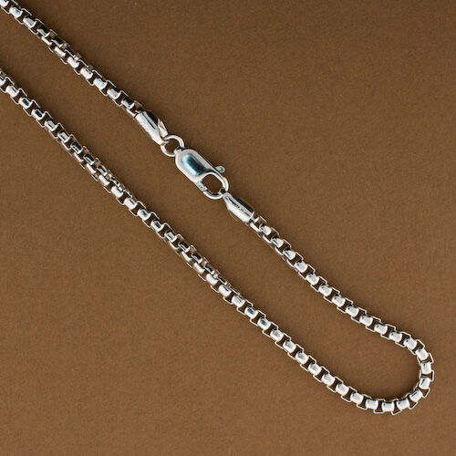 Sterling Silver 3mm Round Box Chain .925 Sterling Silver Italian Cha 22 inches