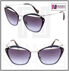 72bf9d2eec36 MIU MIU NOIR Cut Out 54T Blue Violet Silver Gradient Oversized ...