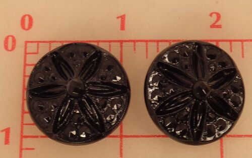 "12 vintage large German glass shank buttons black coneflower 1/"" 26mm sand dollar"