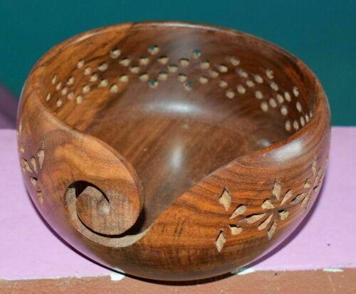 "Unique Gift Rosewood Handmade Wooden Yarn BowlKnitting BowlsCrochet 6/""x 3/"""