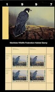 MANITOBA-4M-1997-FALCON-CONSERVATION-STAMP-MINI-SHEET-OF-4-IN-FOLDER