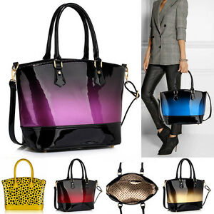 Image Is Loading Women 039 S Patent Handbags Tote Bag For