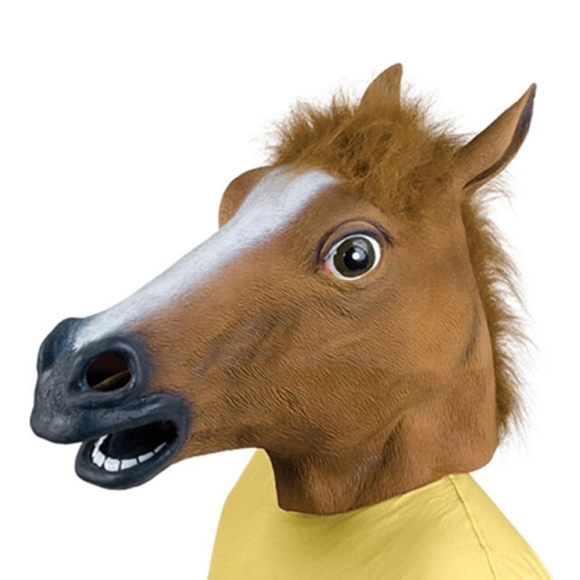 New Novelty Horse Unicorn Animal Head Mask Creepy Halloween Costume Theater Prop
