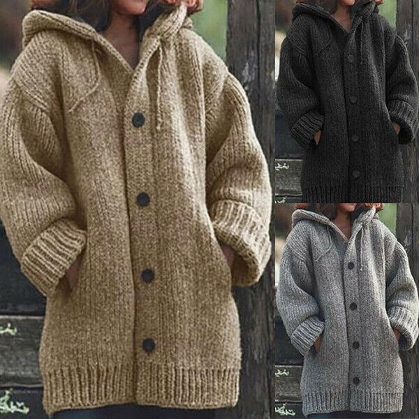 Women Knit Cardigan Hooded Sweater Outwear Long Jacket Warm