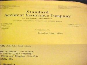 Vtg Standard Accident Insurance Co Fire Casualty DETROIT ...