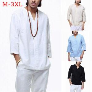 Spring-Men-039-s-Long-Sleeve-V-Neck-Tops-Faux-Linen-Tee-Loose-Solid-Summer-T-Shirt