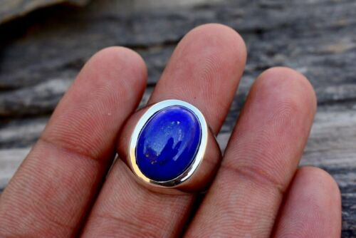 Natural AAA Blue Lapis Lazuli Gemstone 925 Sterling Silver Men/'s Ring Jewelry