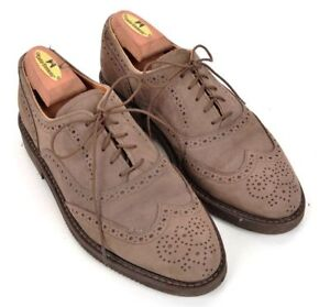 COLE-HAAN-Snuff-Brown-Suede-Leather-Wingtip-Mens-Rubber-Sole-Dress-Shoes-7-5-D