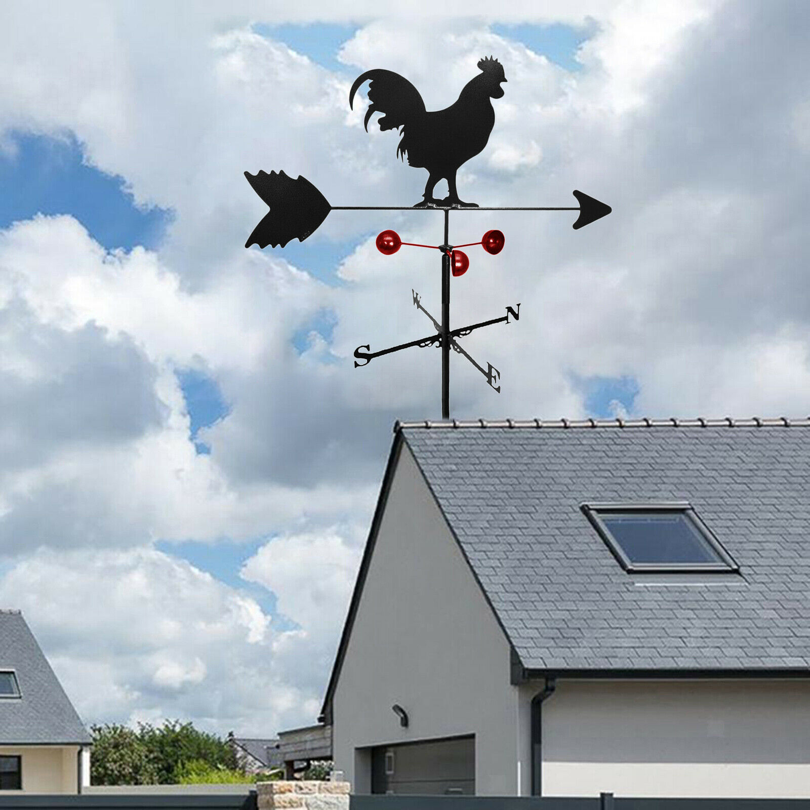 Retro Metal Rooster Weathervane Wind Direction Indicator Yard Stake Ornament