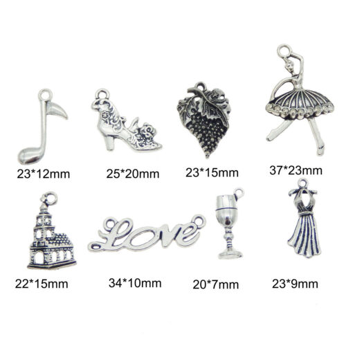 8PCS Vintage Silver Alloy Ballet Girl Dancer Party Favor Charms Pendant Jewelry