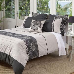 KAS-Baroque-Opulent-Charcoal-Taupe-Grey-Queen-King-Quilt-Duvet-Bedding-Euro-Set