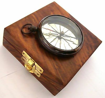 Dollond London Ship Brass Compass with Box