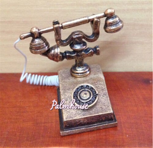 1//12 Doll House Furniture Miniature Retro Phone Vintage Telephone For Gift SP