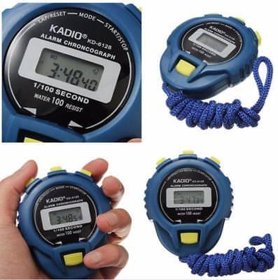 Schwarz Digital Handheld Sport Stoppuhr Stoppuhr Timer Alarmzähler ^