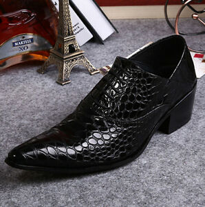 Men-039-s-Wedding-Pointed-Toe-Lace-Up-Dress-Formal-Block-Cuban-Heel-Leather-Shoes-SZ
