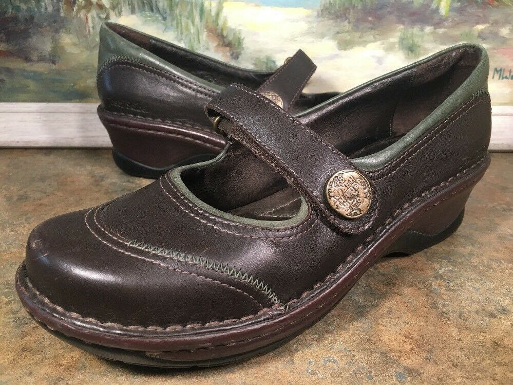 Josef Seibel 40 Brown And Green Loafer Mary Jane Leather Velcro Buckle Size 9.5