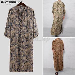 Men-039-s-Muslim-Ethnic-Kaftan-Saudi-Arab-Formal-100-Cotton-Dress-Long-Sleeve-Robe