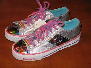 Details about SKECHERS SPORTY SHORTY GIRLS RAINBOWLICIOUS SILVER RAINBOW SHOES SIZE 3 NWT'S