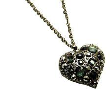 Heart necklace black smokey grey diamante rhinestone long chain sparkly bling