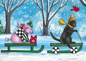 PRINT OF ACEO PAINTING RYTA CHRISTMAS BLACK CAT FOLK ART LANDSCAPE GIFT WINTER