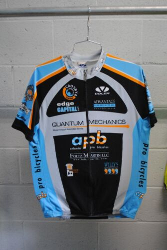 Voler Custom Team Short Sleeve Cycling Jersey Black//Grey//Blue Mens XL Used