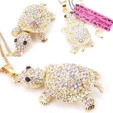 NWT Betsey Johnson Diamond White Crystal & Golden Yellow Turtle Pendant Necklace