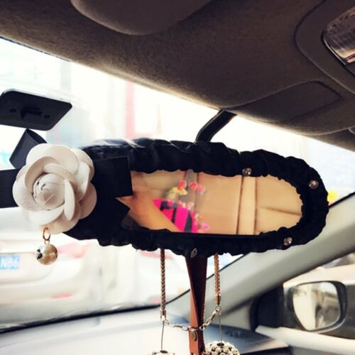 Crystal Leather Car Interior Rearview Mirror Cover Trim Decoration with Flower