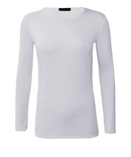 Women basic long sleeve plain round neck ladies stretch plus size top T-shirt Rn