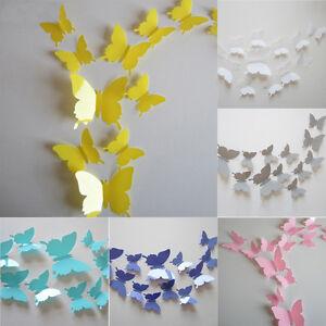 Cute-12Pcs-3D-Butterfly-Sticker-Art-Decal-Wall-Stickers-Home-Decor-Decorations