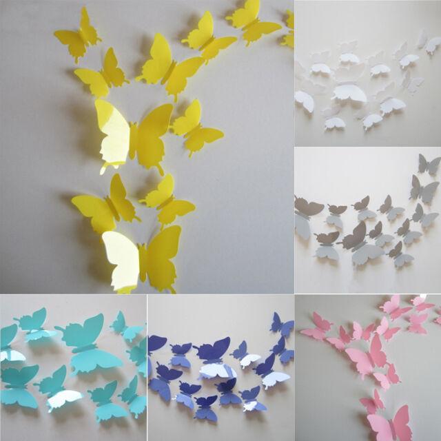 Cute 12Pcs 3D Butterfly Sticker Art Decal Wall Stickers Home Decor Decorations