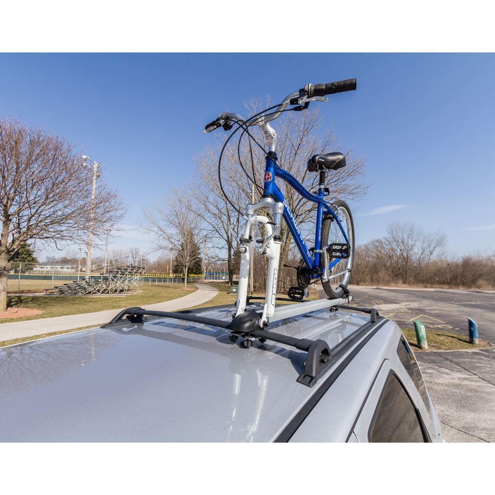 Rooftop SUV Single Bicycle Carrier Fork-Mounted on Car or SUV Rooftop Crossbars 5b6fd8