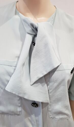 Silk Mint Ch36 Neckline Blouse Tie Pale Top 100 Green Sleeve Short Akris Shirt x75qIpU4