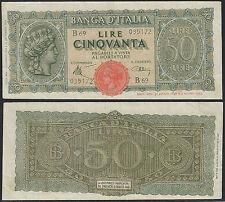 1944 Lire 50 Italia Turrita del 10-12-1944 SPL Rif. BI 265 Cat. Alfa € 70,00