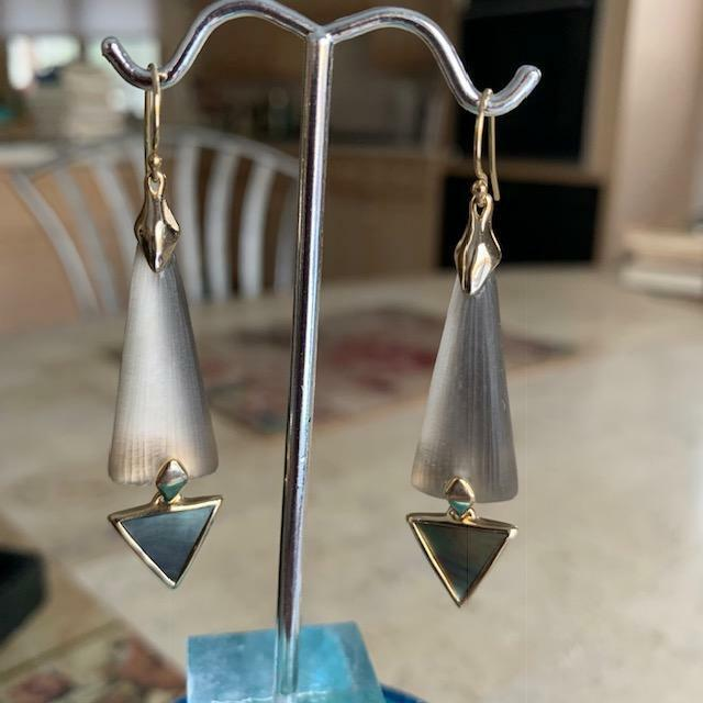 Alexis Bittar Triangle Drop Lucite Earrings- gold Tone