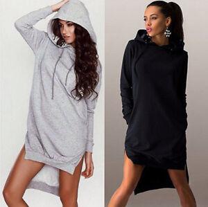 Damen Mini Kleid mit Hoody Kapuze Sweatshirts Long Kapuzenpullover Pullover Hemd | eBay