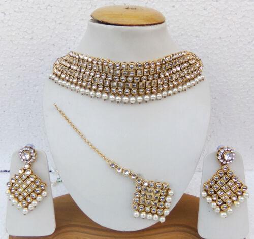 South Indian Jewelry Necklace Earrings Chocker Ethnic Gold tone Choker Tikka Set