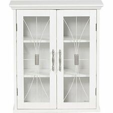 Merveilleux Glass Front Wall Cabinet White Bathroom Shelves Dining Room Decor Storage 2  Door