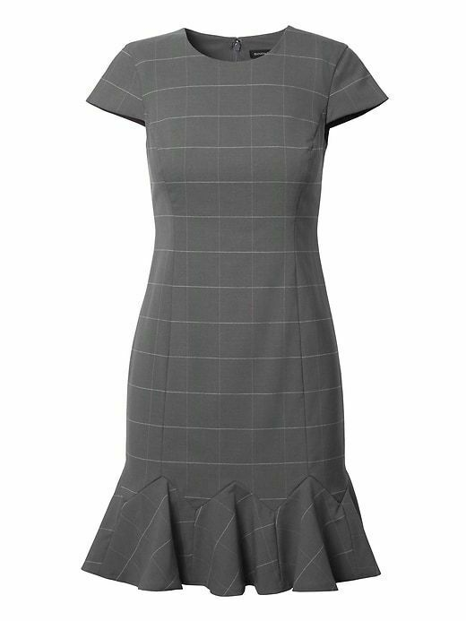 NWT Banana Republic Windowpane Lightweight Wool Godet Flounce Sheath Dress Sz 2