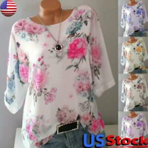 Women-Boho-Floral-3-4-Long-Sleeve-T-Shirts-Blouse-Top-Casual-Tunic-Shirt-S-5XL